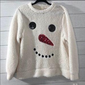 ULTRA FLIRT White Faux Fur Snowman Shirt